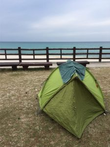 Beach camping on Jeju Island