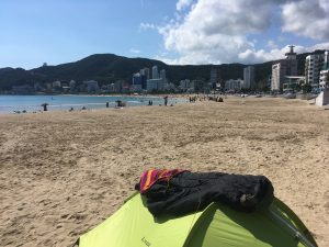 Camping on a beach in Busan