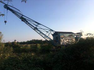 Old crane alongside the Elbe River in Dresden