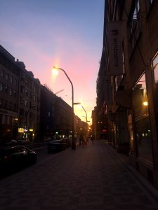 Sunrise atop the streets of Prague
