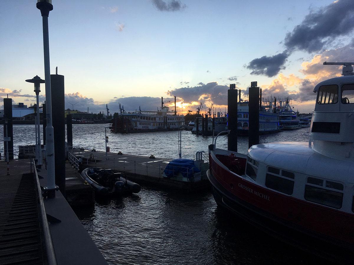 Boats bobbing in Hamburg harbor