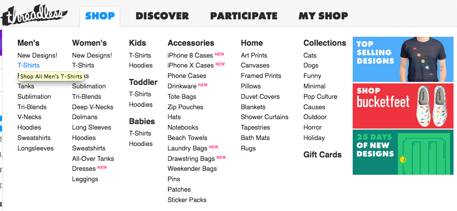 Threadless website menu