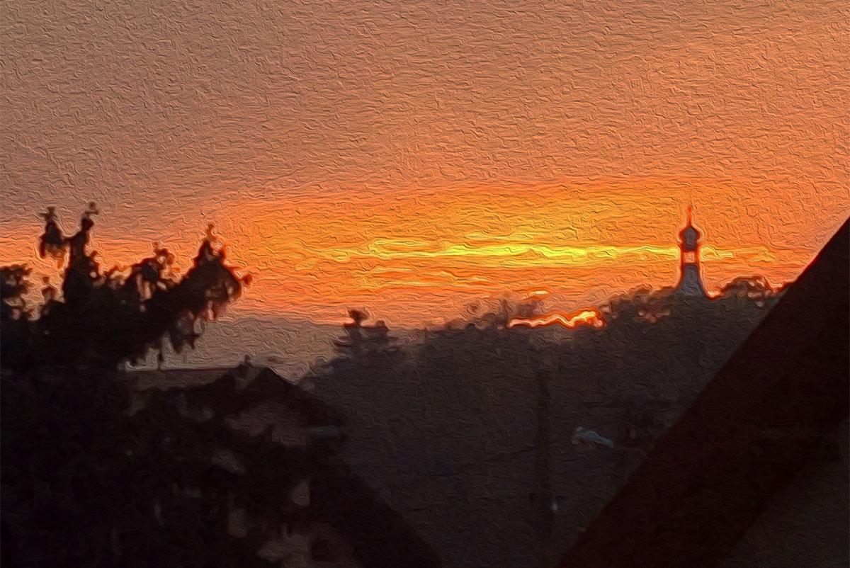 Sunset in Zielonki, Poland
